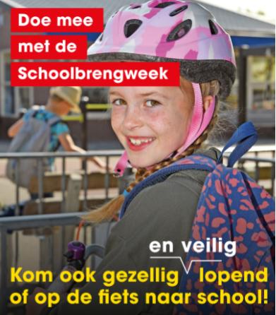 Het is Schoolbrengweek; kom lopend of fietsend naar school!